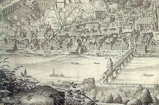 533px-Heidelberger_Schloss_Neckar_Alte_Bruecke_Heilgigeistkirche_von_Matthaeus_Merian_(Ausschnitt)